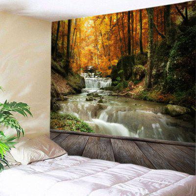 Buy YELLOW Wall Hanging Art Maple Forest Stream Print Tapestry for $22.30 in GearBest store