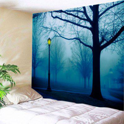 Buy DEEP BLUE Wall Hanging Art Park Streetlight Print Tapestry for $19.68 in GearBest store