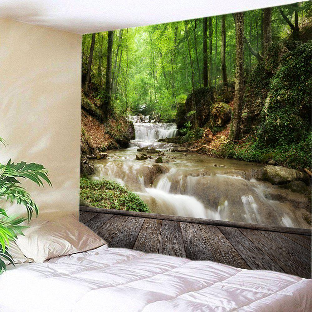GREEN Wall Hanging Art Forest Stream Print Tapestry