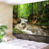 Wall Hanging Art Forest Stream Print Tapestry - GREEN