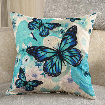 LAIMA Square Pillowcase Soft Butterfly Printed Pillow Cover