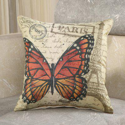 LAIMA Square Pillowcase Retro Butterfly Printed Pillow Cover