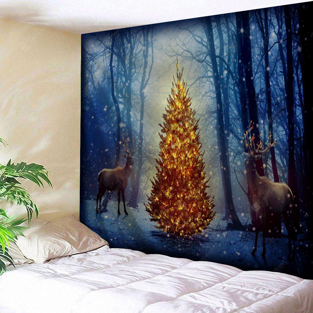 Misty Forest Christmas Tree Elk Wall Tapestry