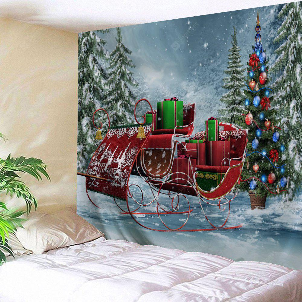 Christmas Sled Pine Forest Wall Tapestry