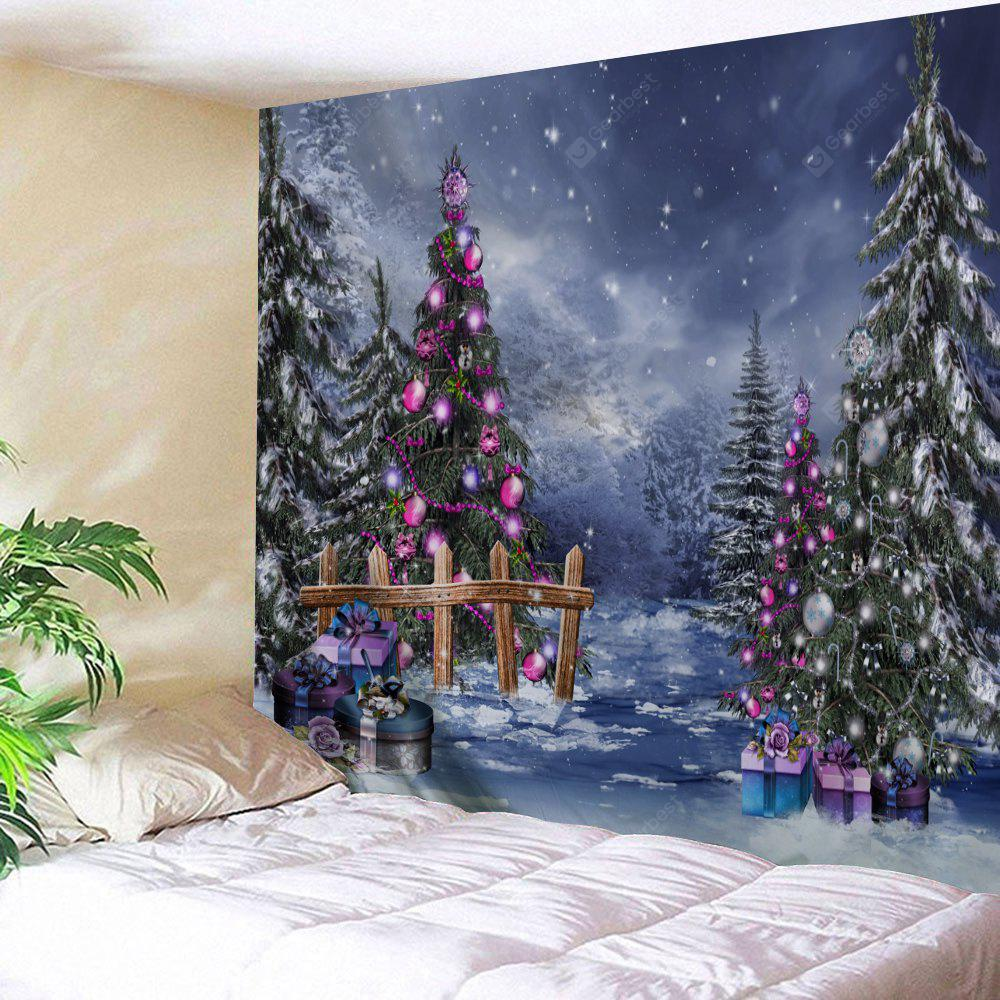 Christmas Tree Gift Box Print Wall Tapestry