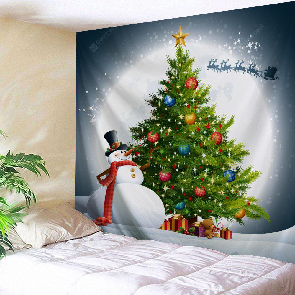 Christmas Tree Snowman Moon Wall Tapestry
