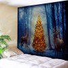 Misty Forest Christmas Tree Elk Wall Tapestry - BLUE