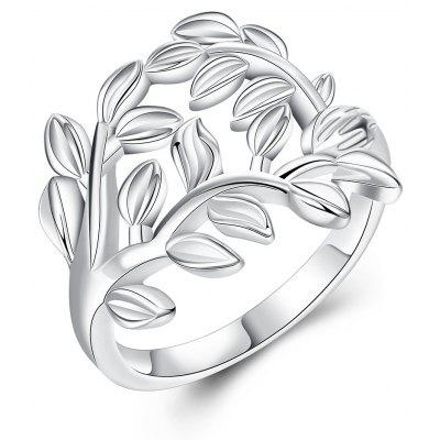 Stylish Plant Shaped Sliver Plated Ladies Ring