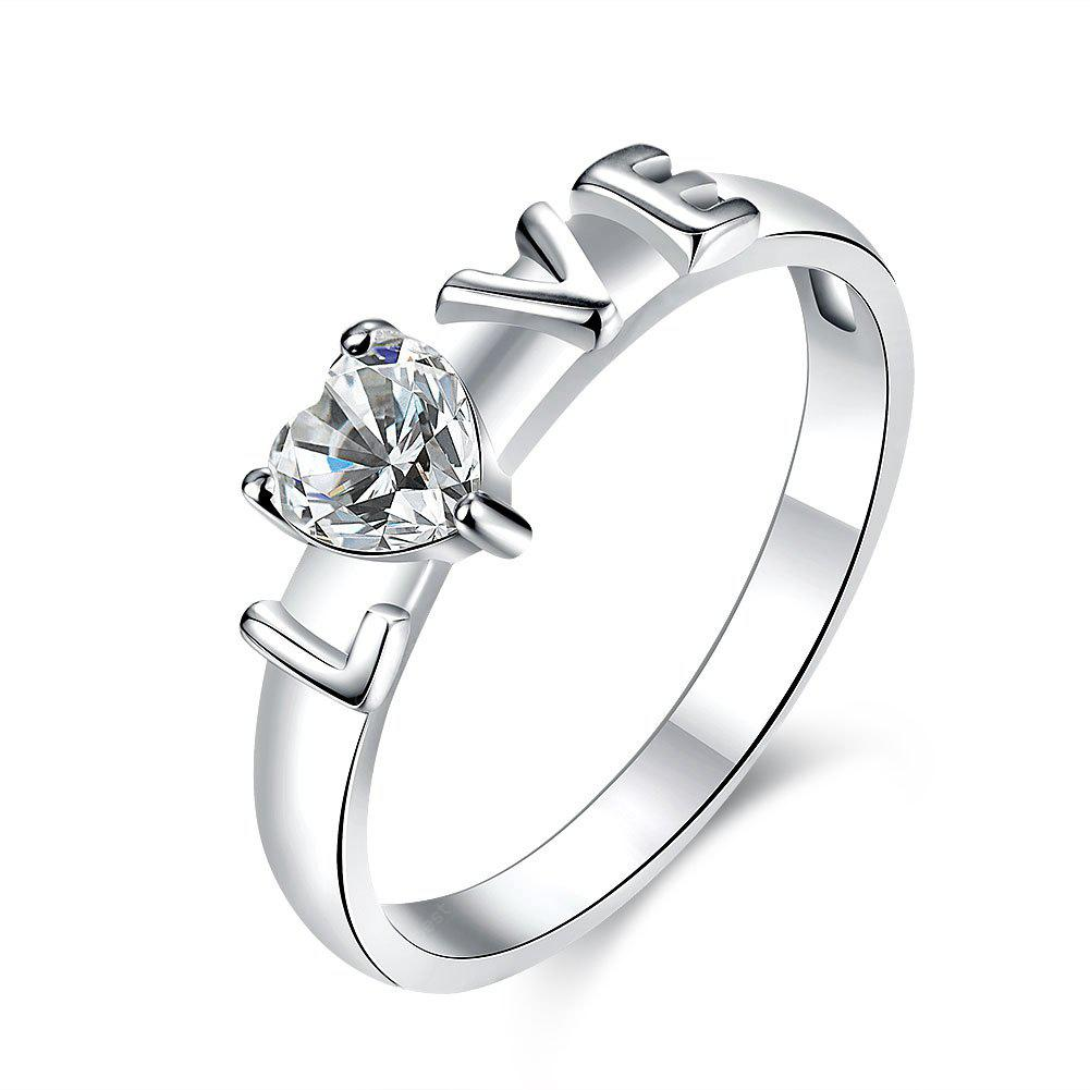Stylish Elegant Crystal Rhinestone Love Hollow Ring