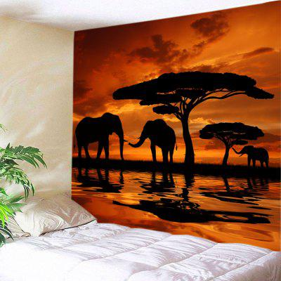Art Wall Hanging Tramonto Prairies Elephants Stampa Arazzo