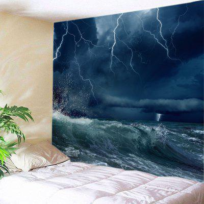 Buy OCEAN BLUE Wall Hanging Art Lightning Ocean Wave Print Tapestry for $16.31 in GearBest store