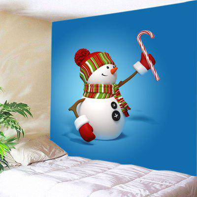 Buy BLUE Wall Hanging Art Snowman Candy Cane Print Tapestry for $15.00 in GearBest store