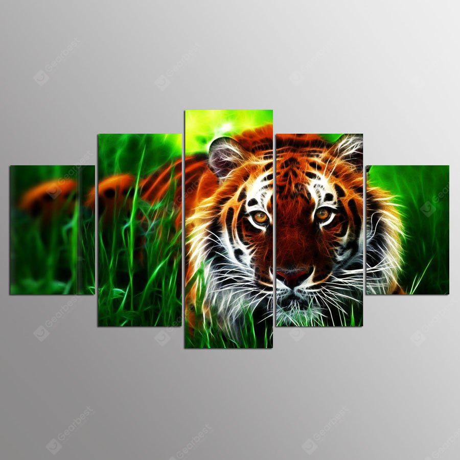 YSDAFEN Canvas Tiger Prints Hanging Wall Art 5PCS