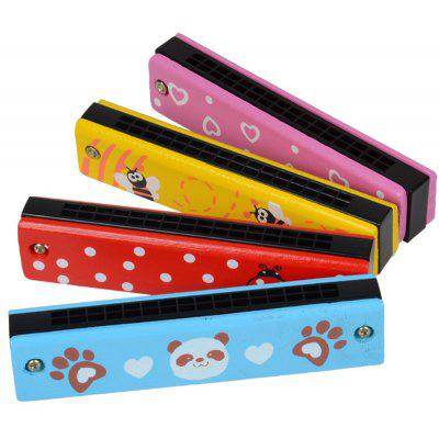 Wooden Colored Paint Musical Instruments Harmonica 4pcs