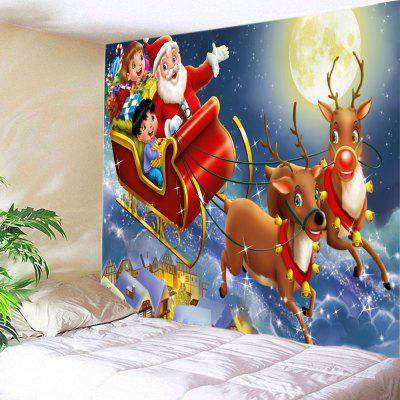 Buy RED Wall Hanging Art Christmas Moon Deer Sleigh Print Tapestry for $16.31 in GearBest store