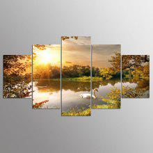 YSDAFEN Canvas Swan Prints Hanging Framed Wall Art 5PCS