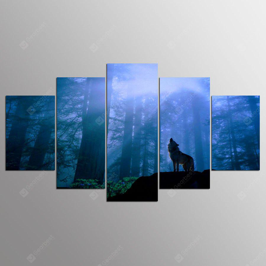 YSDAFEN Canvas Forest Wolf Prints Hanging Wall Art 5PCS