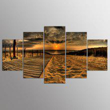 YSDAFEN Framed Beach Road Prints Hanging Wall Art 5PCS