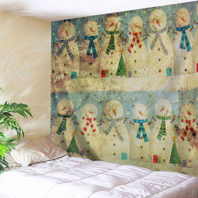 Vintage Christmas Snowman Print Wall Art Tapestry