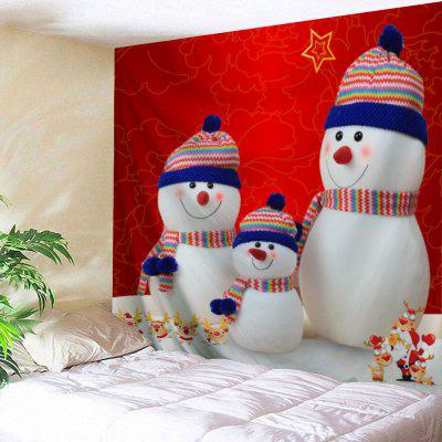 Christmas Snowman Family Print Wall Art Tapestry