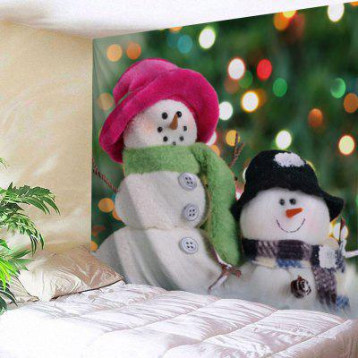 Wall Hanging Christmas Two Snowman Print Tapestry