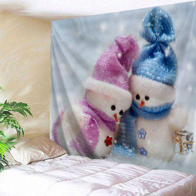 Wall Hanging Christmas Snowman Couples Print Tapestry
