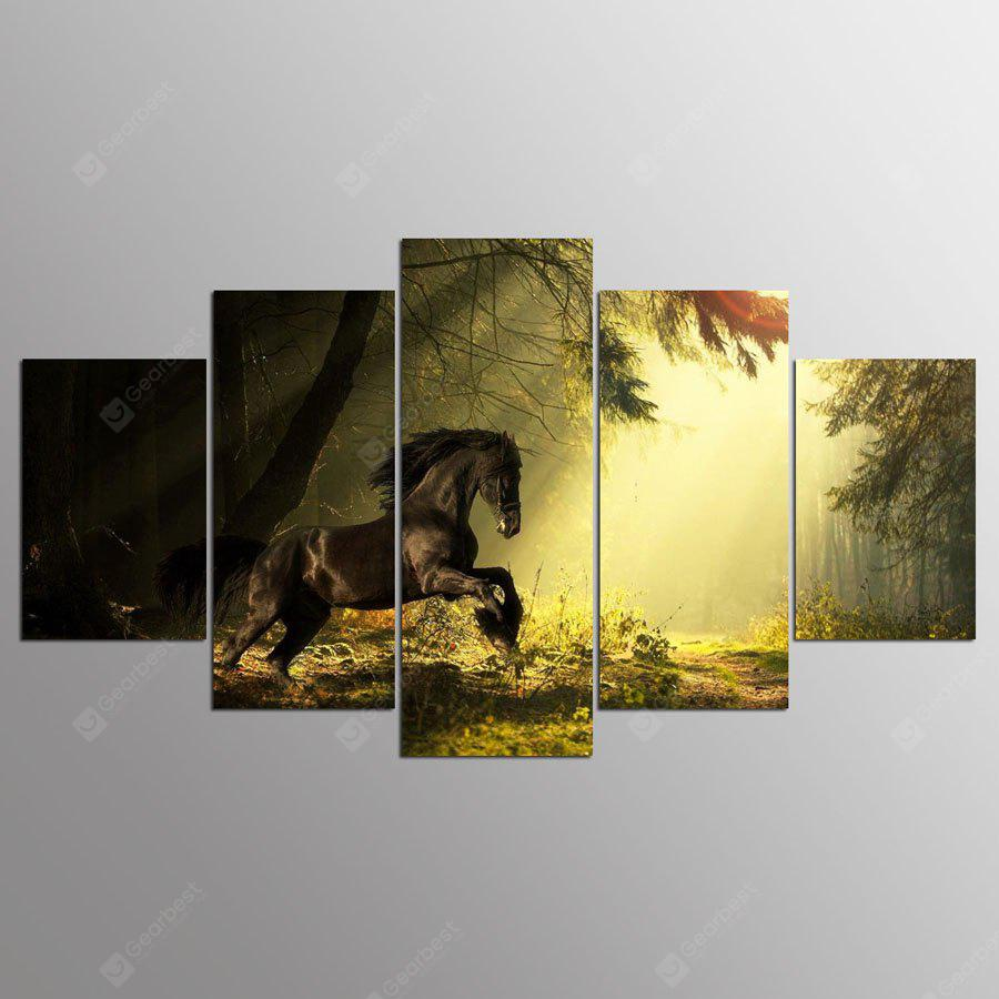YSDAFEN Canvas Forest Horse Prints Hanging Wall Art 5PCS