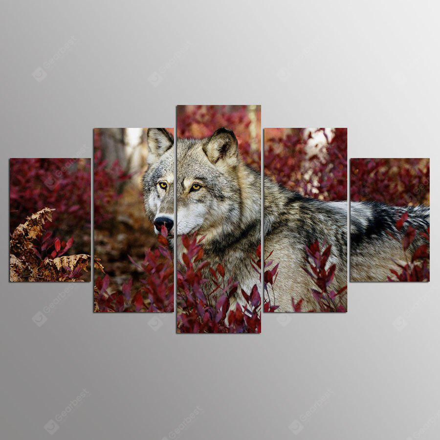 YSDAFEN Framed Canvas Wolf Prints Hanging Wall Art 5PCS