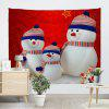 Christmas Snowman Family Print Wall Art Tapestry - RED