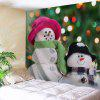 Wall Hanging Christmas Two Snowmen Print Tapestry - GREEN