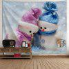 Wall Hanging Christmas Snowman Couples Print Tapestry - COLORMIX