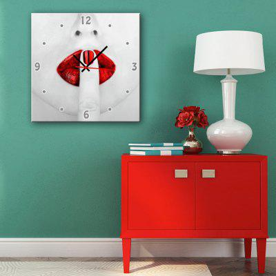 E - HOME Wall Clock with Red Lips Pattern
