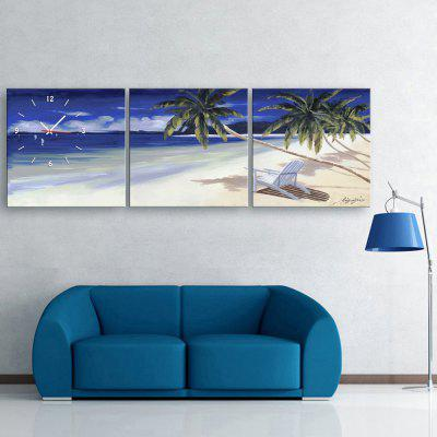 E - HOME Creative Wall Clock Sandbeach Painting Art 3PCS