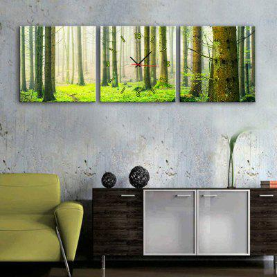 E - HOME Creative Wall Clock Canvas Forest Paintings 3PCS