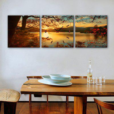 E - HOME Creative Wall Clock Lake View Painting 3PCS