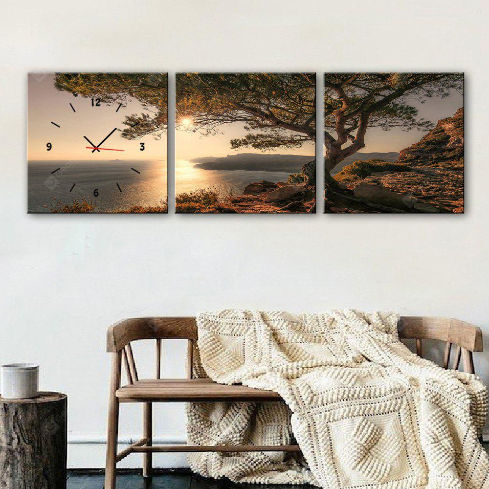 E - HOME Creative Wall Clock Canvas Tree Painting 3PCS