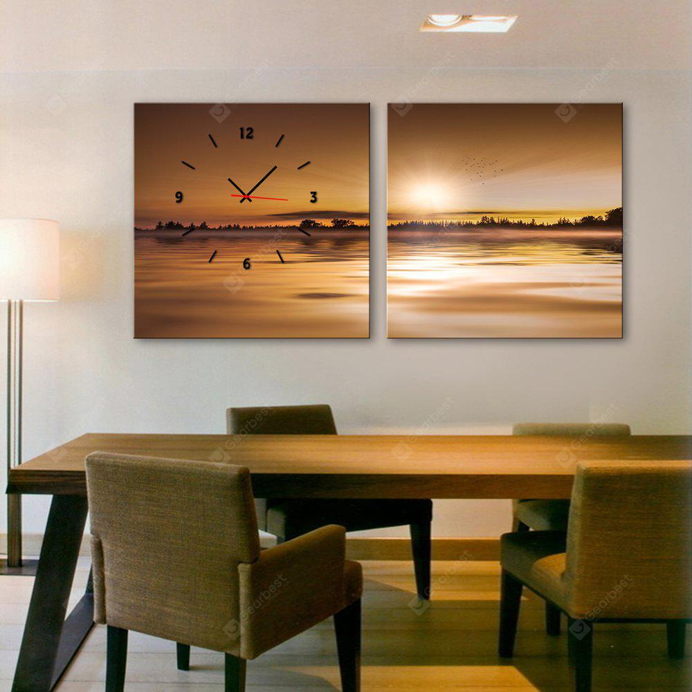 E - HOME Creative Wall Clock Landscape Painting 2PCS