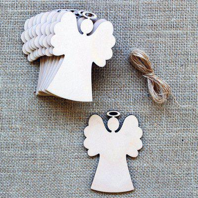 10 Pcs Christmas Tree Hanging Decorations Wooden Angels