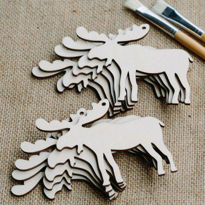 10 Pcs Christmas Tree Hanging Decorations Wooden Deers