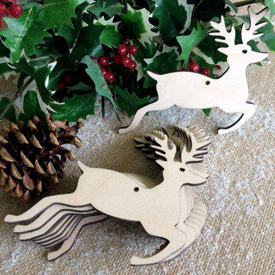 Wooden Deer Christmas Tree Decorations 10pcs