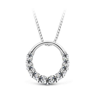 T400 1950 Women S925 Silver Circle Style Zircon Necklace
