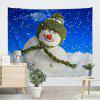 Christmas Cute Snowman Print Decorative Wall Tapestry - COLORMIX