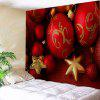 Wall Art Christmas Balls Print Decorative Tapestry - RED