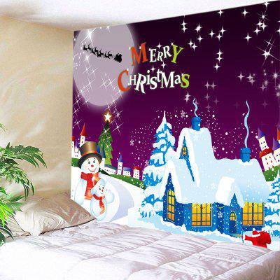 Wall Hanging Art Christmas Moon Night Village Print Tapestry