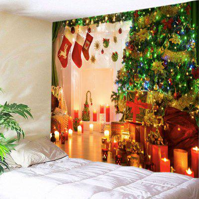 Wall Hanging Art Christmas Tree Gift Stockings Print Tapestry