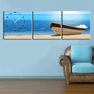 Canvas Painting Boat Landscape with Wall Clock 3-pieces