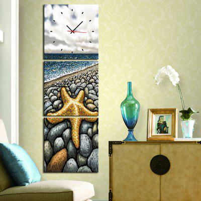 Canvas Painting Starfish Landscape with Wall Clock 3-pieces