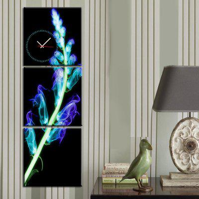 Canvas Painting Luminous Plant Wall Clock 3-pieces
