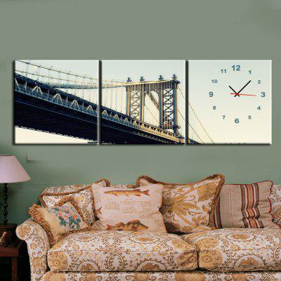 Canvas Painting Highway Bridge Wall Clock 3-pieces