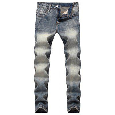 Buy Mid Rise Straight Leg Faded Jeans BLUE GRAY 38 for $45.47 in GearBest store